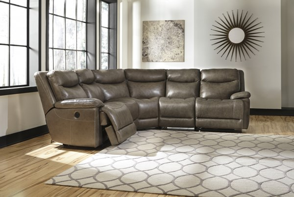 Zaiden Contemporary Quarry Faux Leather LAF Zero Wall Power Recliner U7500058