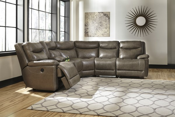 Zaiden Contemporary Quarry Faux Leather Power Sectionals U7500-SEC-VAR1
