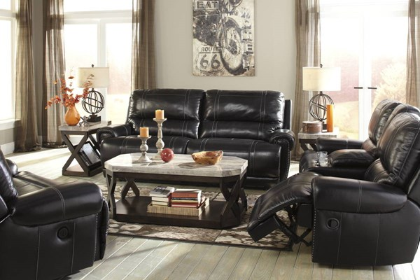 Paron Antique Metal Leather 3pc Living Room Set w/Power Sofa U7590-LR-S3