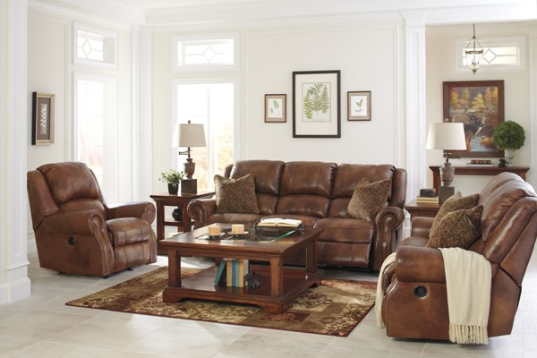 Walworth Traditional Classics Auburn Leather 3pc Living Room Set U7800-LR-S1