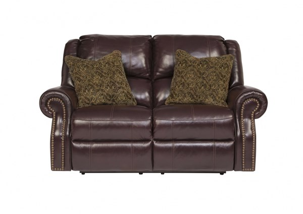 Walworth Traditional Classics Blackcherry Leather Reclining Loveseat U7800286