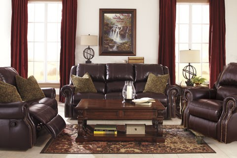 Walworth Traditional Blackcherry Leather 3pc Power Living Room Set U7800-LR-S4