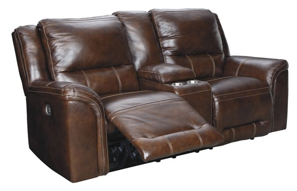 Ashley Furniture Catanzaro Power Reclining Loveseat With Console And Adjustable Headrest U8300418