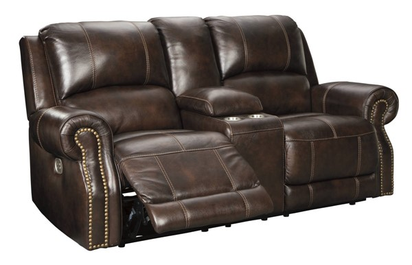 Ashley Furniture Buncrana Power Reclining Loveseat With Console And Adjustable Headrest U8460418