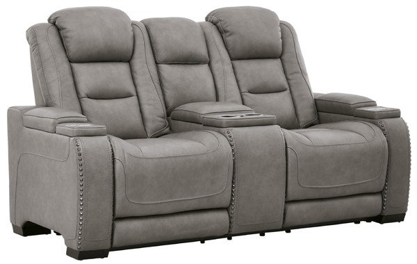 Ashley Furniture The Man Den Gray Adjustable Headrest Power Recliner Console Loveseat U8530518