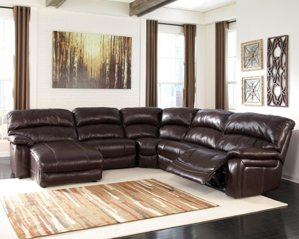 Damacio Dark Brown Leather Sectional w/LAF Chaise U98200-SEC-S2