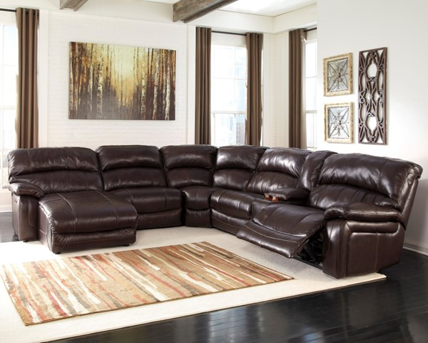 Damacio Dark Brown Leather Sectional w/LAF Chaise & Console U98200-SEC-S4