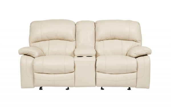 Damacio Cream Leather Glider Recliner Loveseat w/Console U9820143