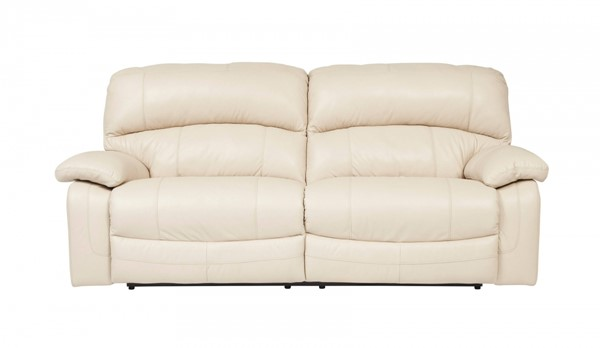 Damacio Contemporary Cream Leather PVC Reclining Sofa U98201-SF