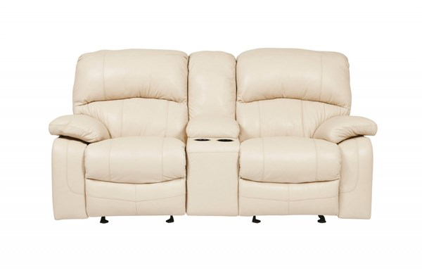 Damacio Cream Leather Glider Recliner Power Loveseat w/Console U9820191