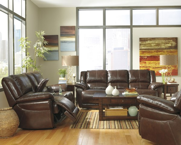 Lenoris Coffee Leather 3pc Living Room Sets U98901-LR-S