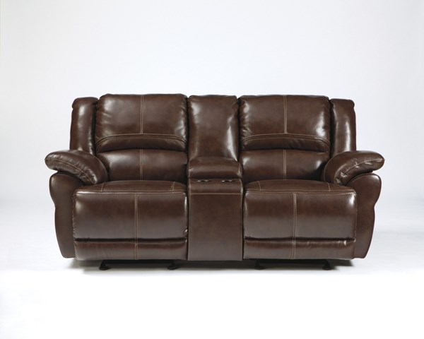 Lenoris Coffee Leather Glider Recliner Loveseat W Console The Classy Home