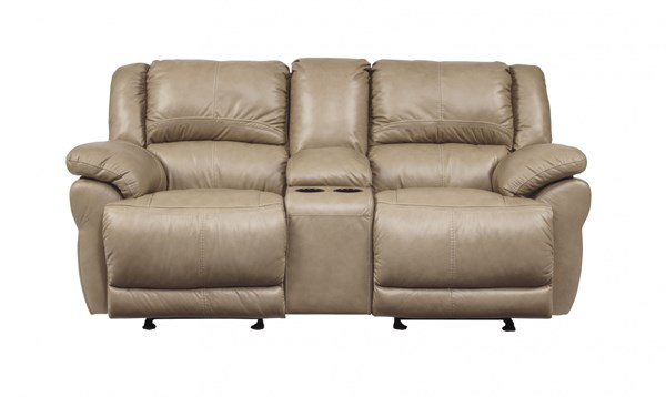 Lenoris Caramel Metal Leather Glider Recliner Power Loveseat W/Console U9890491