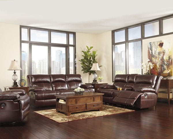 Lensar Burgundy Leather Living Room Set U99000-LR