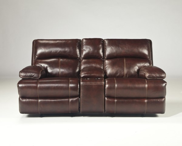 Lensar Burgundy Leather Glider Recliner Power Loveseat w/Console U9900091