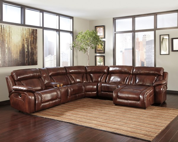 Elemen Harness Leather Sectional w/RAF Power Chaise U99201-SEC-S2
