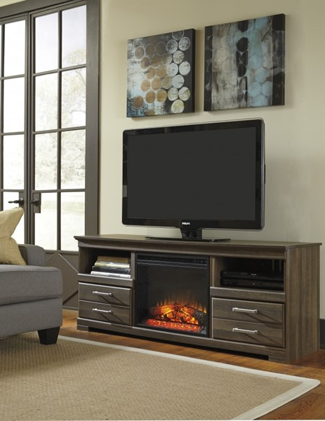 Frantin Brown Wood LG Tv Stand W/Fireplace W129-68-S
