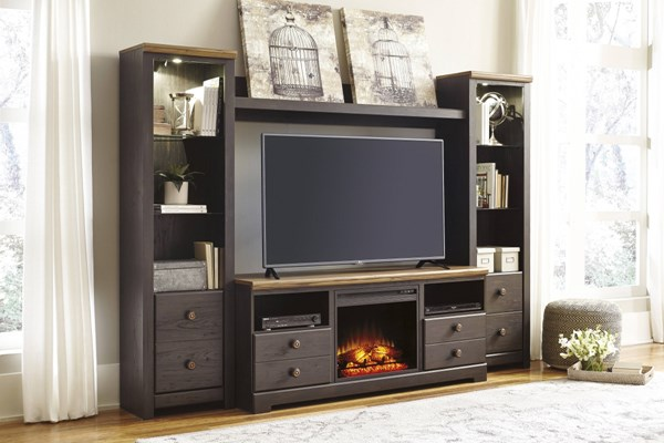 Fireplace Wood Metal Entertainment Center W/Fireplace Option W220-ENT-S1