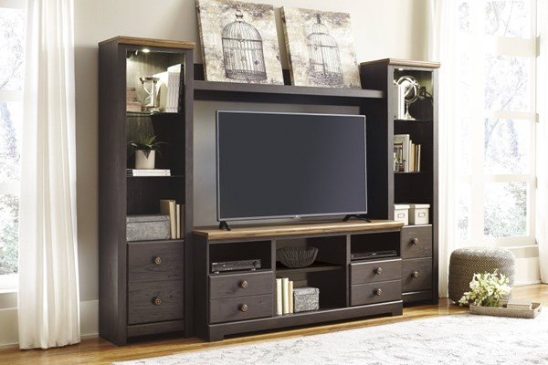 Maxington Brown Cherry Wood Entertainment Center W/o Fireplace Option W220-ENT-S2