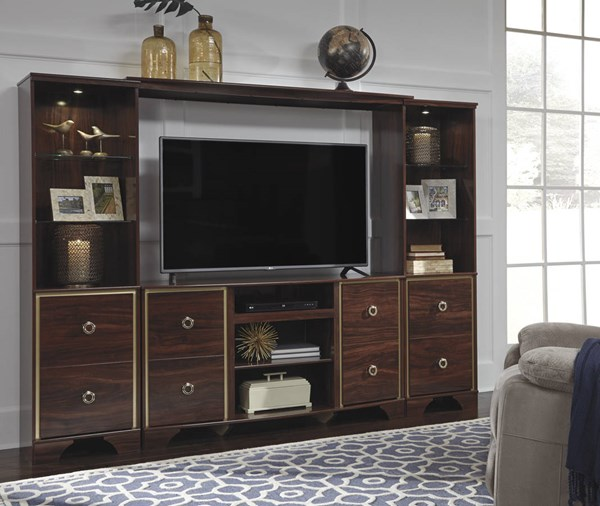 Lenmara Contemporary Brown Wood Glass Entertainment Center W247-ENT