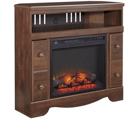 Brittberg Reddish Brown Black Wood Metal TV Stand W/Fireplace W265-ENT-S1
