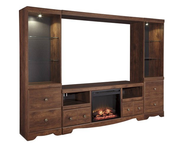 Brittberg Brown Black Wood Metal Entertainment Center W/Fireplace W265-ENT-S4