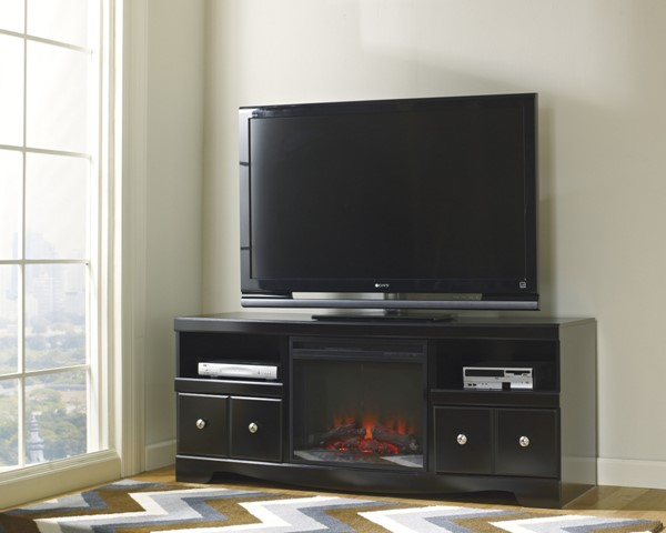 Shay Contemporary Black Wood Metal Glass LG TV Stand W/Fireplace W271-68-S