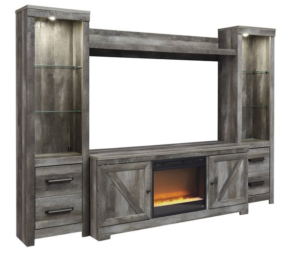Ashley Furniture Wynnlow Gray Entertainment Center With Fireplace Insert Glass Stone W440-ENT-S3