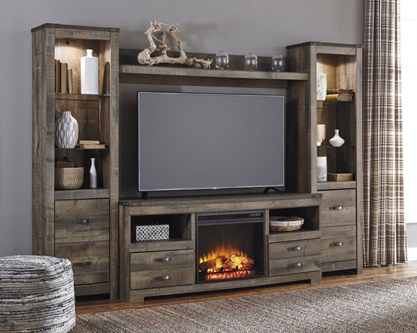 Trinell Brown Entertainment Unit W/Fireplace W446-FP1