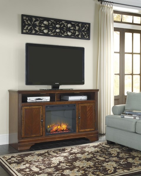 Hamlyn Dark Brown Wood LG Tv Stand W/Fireplace W527-68-S