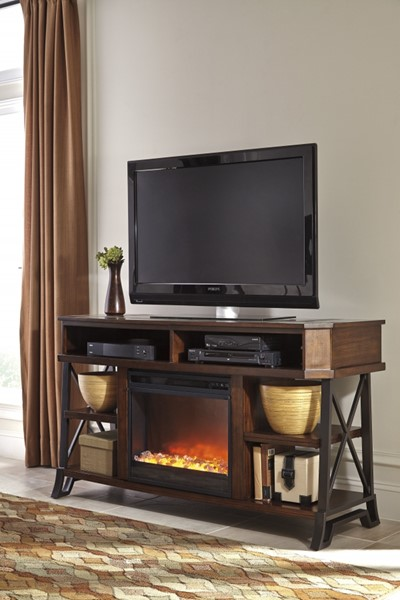 Vinasville Brown Wood Metal Large TV Stand W/Fireplace W552-68-W100-01