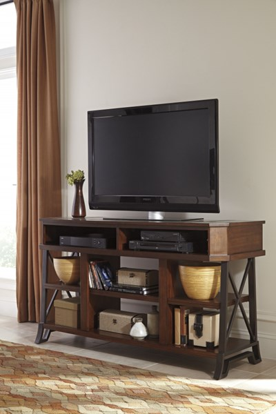 Vinasville Brown Wood Metal Large TV Stand W552-68