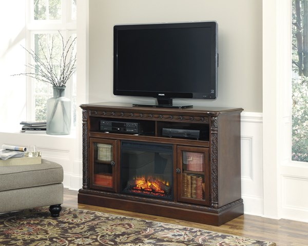 North Shore Dark Brown Wood LG Tv Stand W/Fireplace W553-68-S