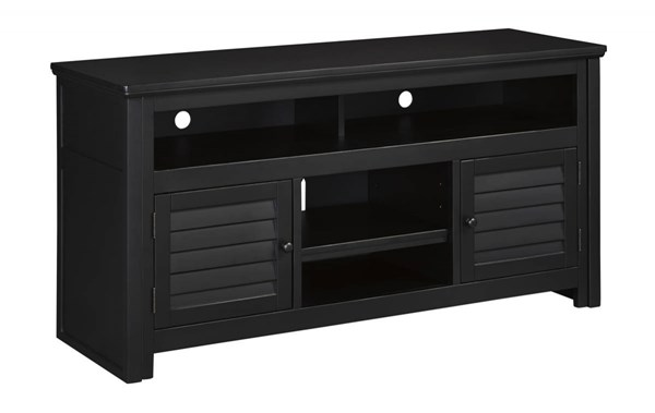Brasenhaus Vintage Casual Black Wood Large TV Stand W661-38