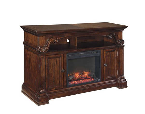Alymere Elegant Rustic Brown Black Metal TV Stand W/Fireplace W669-68-W100-01
