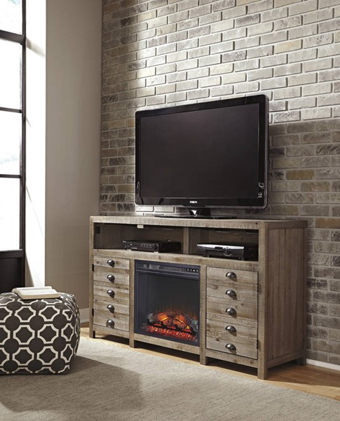 Keeblen Black Grayish Brown Metal TV Stand W/Fireplace W678-38-FIR