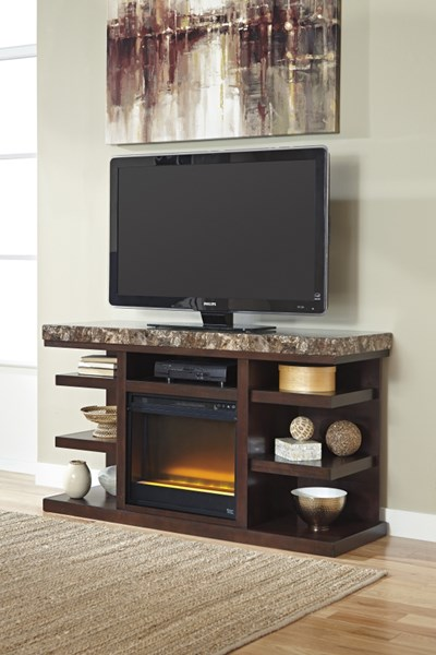Entertainment Accessories Brown Black Shelves TV Stand W/Fireplace W687-68-W100-02