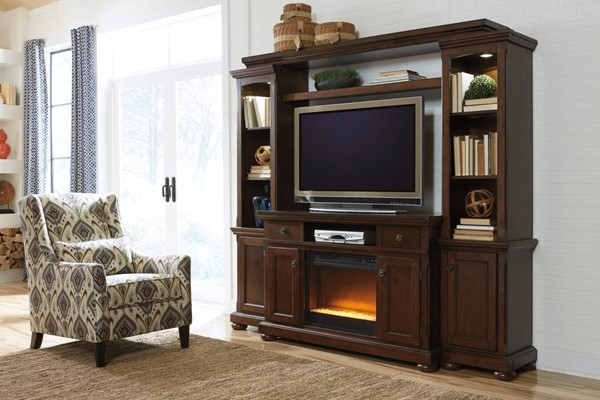 Porter Rustic Brown Wood Entertainment Center W/Fireplace W697-120-ENT-S1