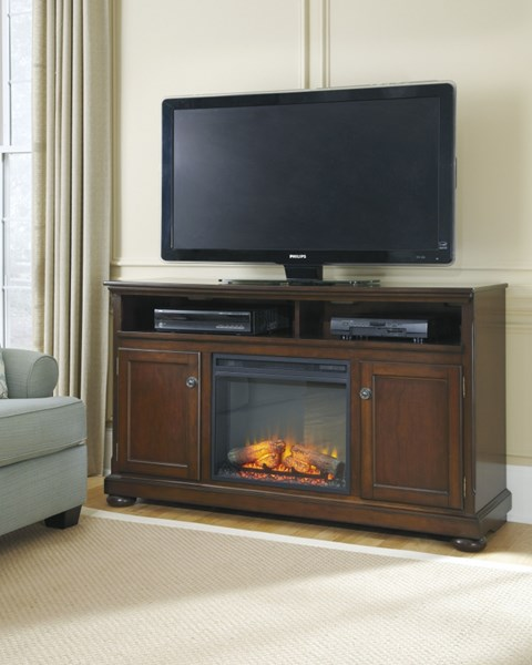Porter Rustic Brown Wood Open Storage LG TV Stand W/Fireplace W697-68-S