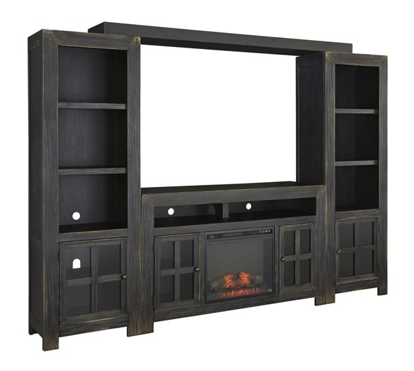 Ashley Furniture Gavelston Black Entertainment Center with Fireplace W732-ENT-S2