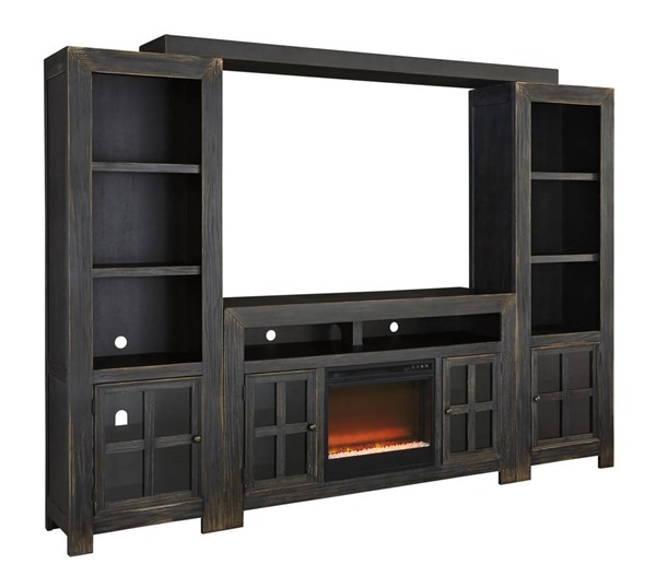 Ashley Furniture Gavelston Entertainment Center With Glass Stone Fireplace W732-ENT-S2