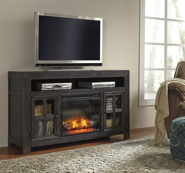 Entertainment Accessories Black Metal TV Stand W/Fireplace W732-38-W100-01