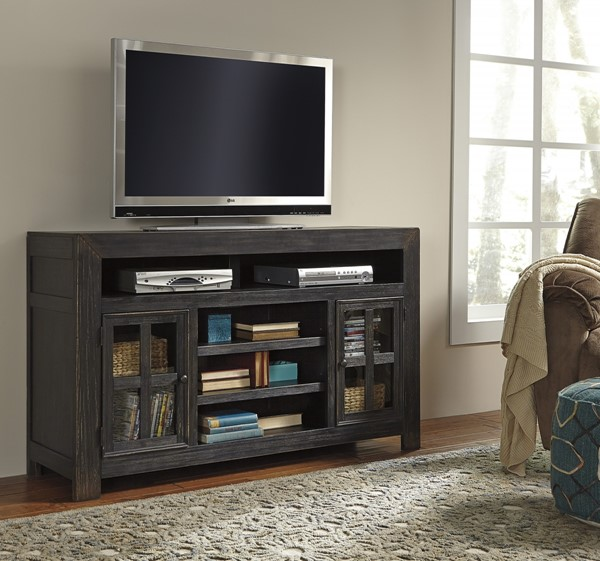 Ashley Furniture Gavelston Black LG TV Stand with Fireplace Option W732-38