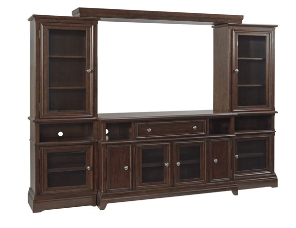 Lavidor Traditional Classics Chocolate Wood Glass Entertainment Center W809-ENT-S1