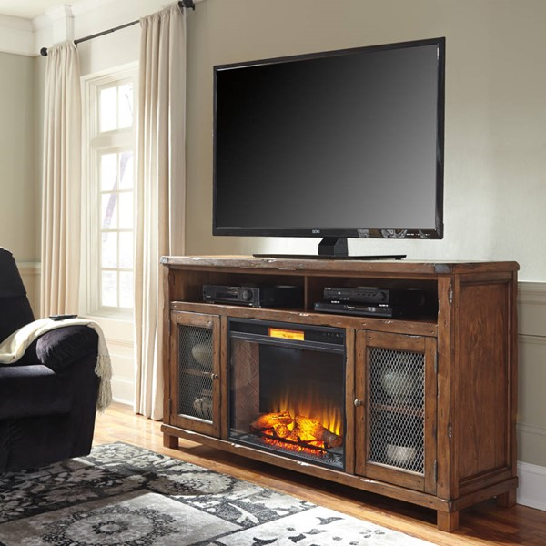 Entertainment Accessories Rustic Brown Black TV Stand W/Fireplace W830-68-W100-21