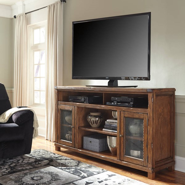 Tamonie Vintage Casual Rustic Brown XL TV Stand w/Fireplace Option W830-68