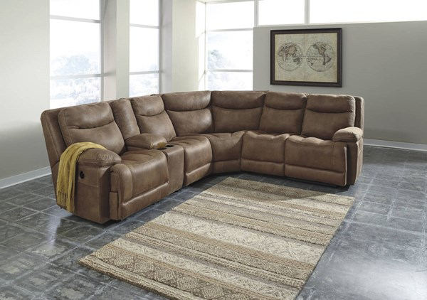 Valto Contemporary Saddle Faux Leather Manual Sectional 79400-LR-S7