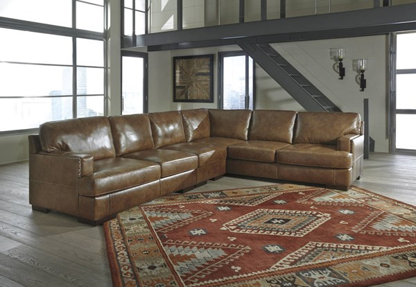Vincenzo Contemporary Nutmeg Leather Wood Sectional W/LAF Loveseat 30401-SEC7