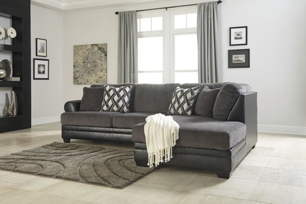 Kumasi Contemporary Smoke PVC Sectional W/RAF Chaise 32202-SEC1