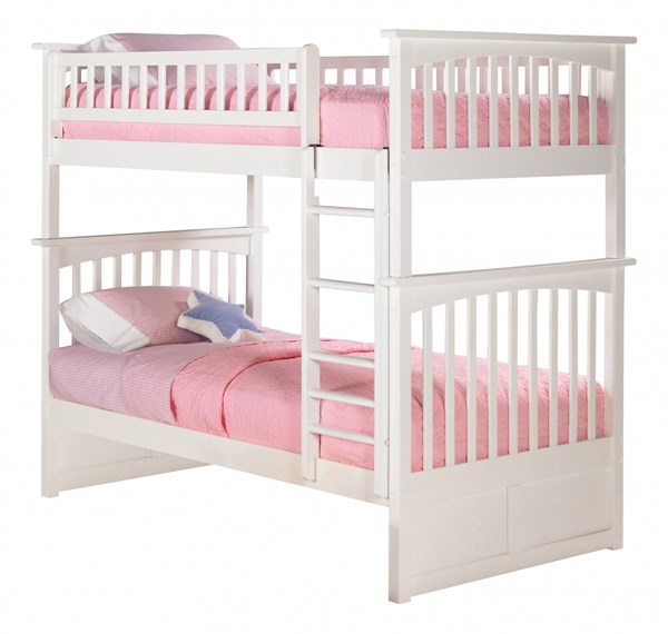 Atlantic Furniture Columbia White Twin Over Twin Bunk Bed | The ...
